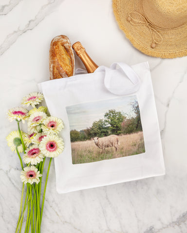 cotton canvas tote with sheep by laura farrell