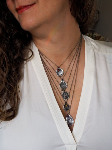 layered silver medallion astrology necklaces