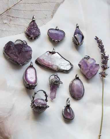 purple angelic crystal talisman necklace collection