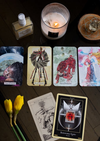 tarot cards crystals candles ritual mist