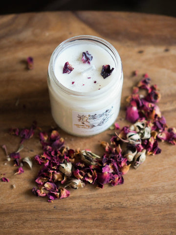 soy intention candle with rose petals