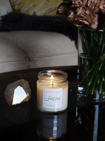 summer soy citrus candle large crystal gemstone and vintage carnations