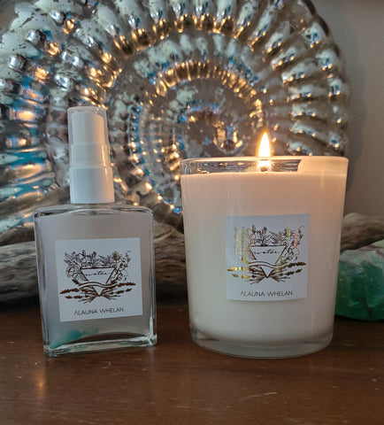 luxury water sign soy candle and ritual mist with mirrored shell in background
