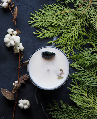 birds eye view of winter solstice ritual candle