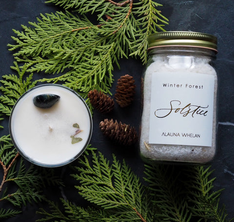 winter solstice candle and bath soak