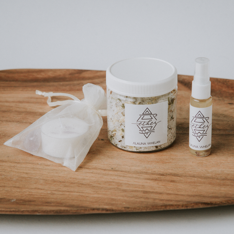 Ether element bath salts, candle, crystal, and ritual mist