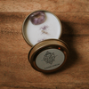 Travel tin soy candle with amethyst gemstone