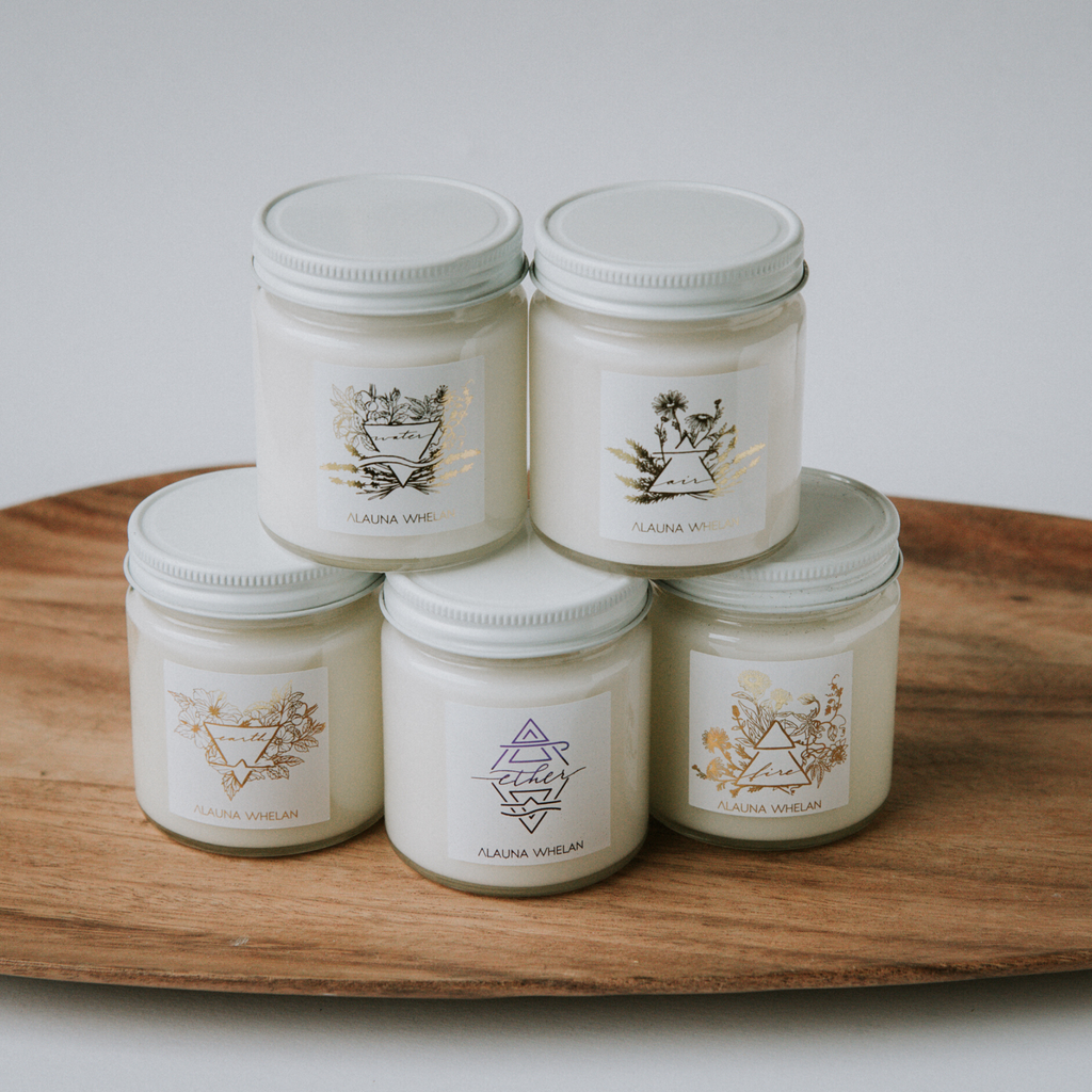 Five soy element candles with gold foil labels