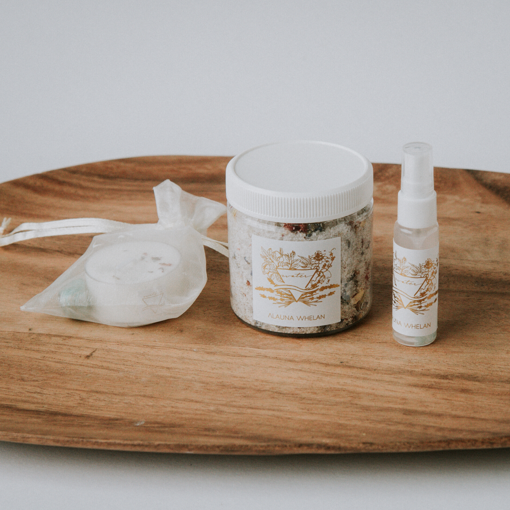Water element bath salts, candle, crystal, and ritual mist