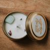 Travel tin soy candle with amazonite gemstone