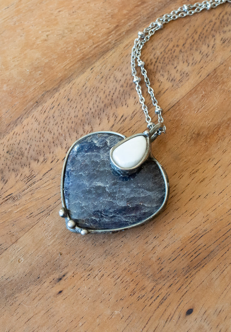 blue iolite and scolocite heart  gemstone talisman necklace