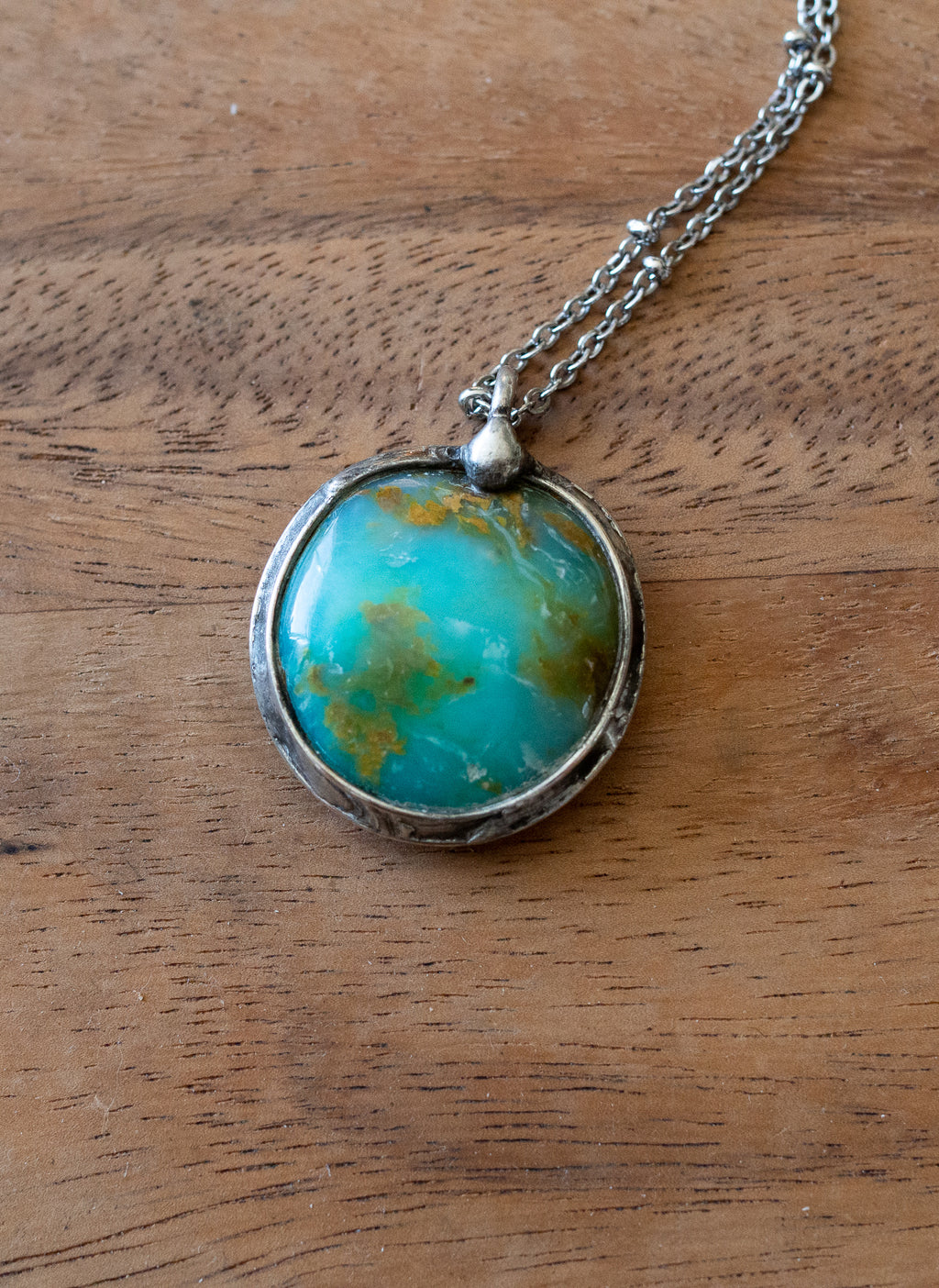 blue-green turquoise peruvian blue opal talisman crystal necklace