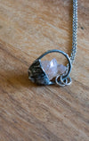 rare light pink brazilian rose quartz gemstone talisman necklace