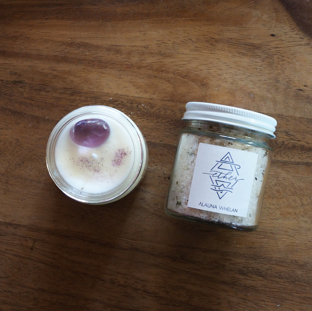 ether soy candle and small bath soak
