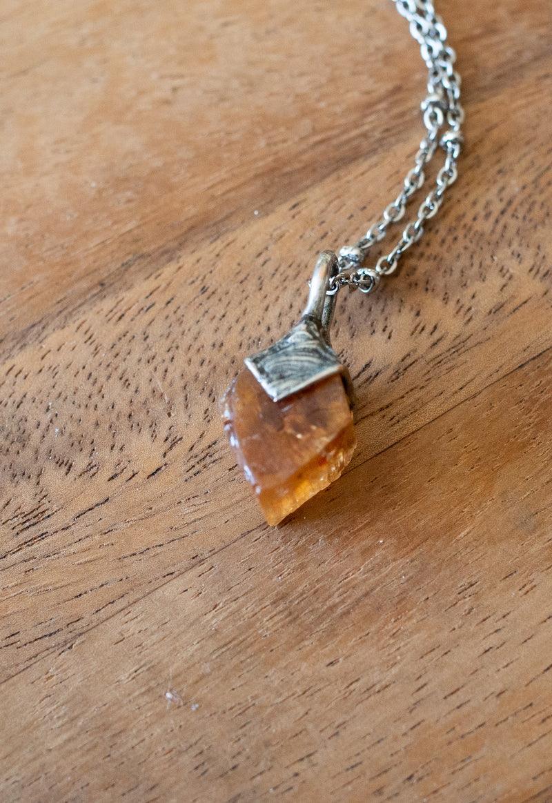 golden imperial topaz crystal talisman necklace