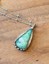 light green turquoise chrysoprase talisman crystal necklace