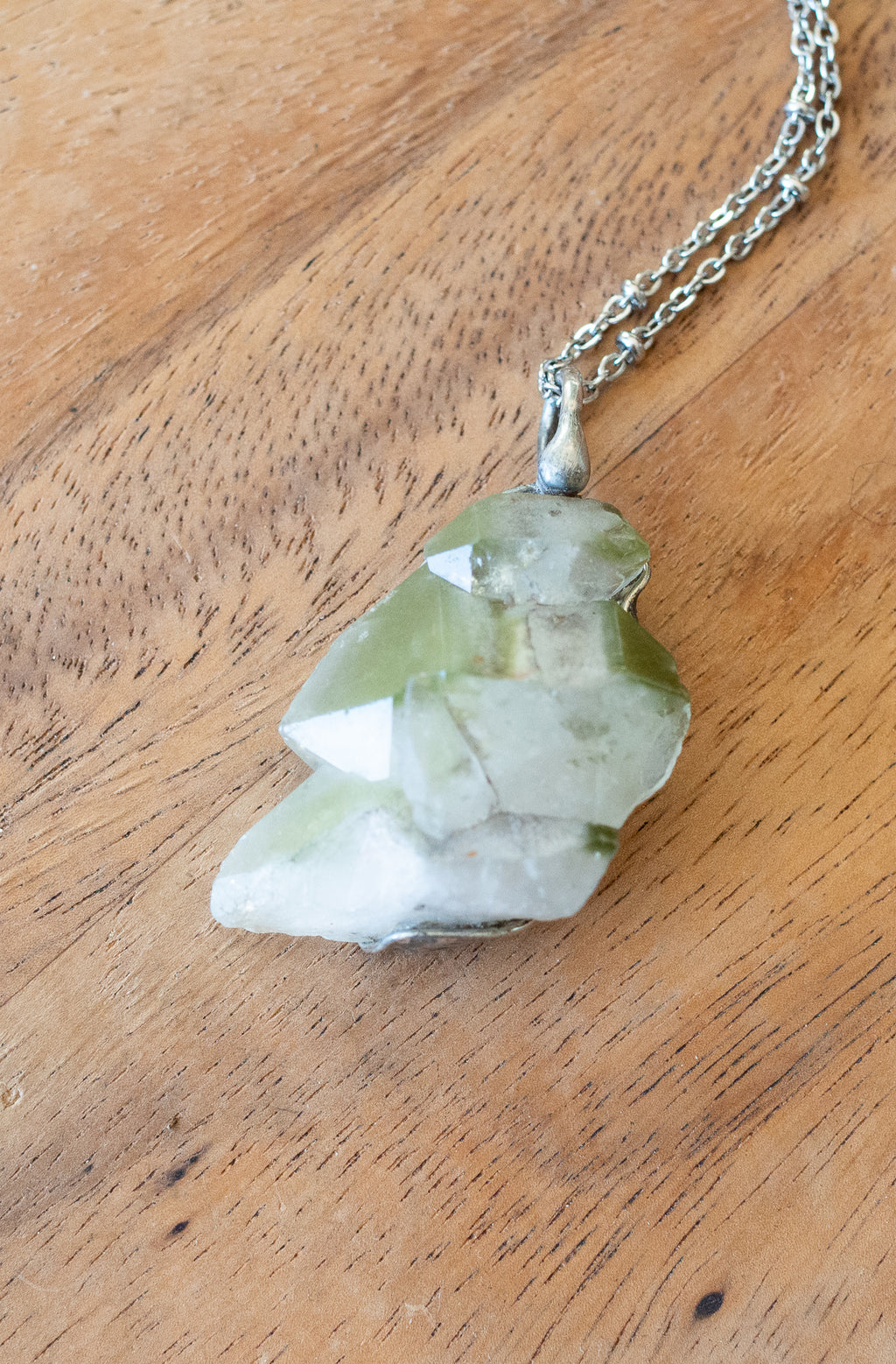 raw chlorite phantom crystal talisman necklace