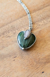 deep green jade heart with pink teardrop ussingite talisman crystal necklace
