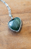 deep green jade heart talisman crystal necklace