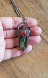 lodolite and carved carnelian scarab crystal talisman necklace palm of hand