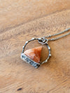 orange sparkly sunstone crystal talisman necklace