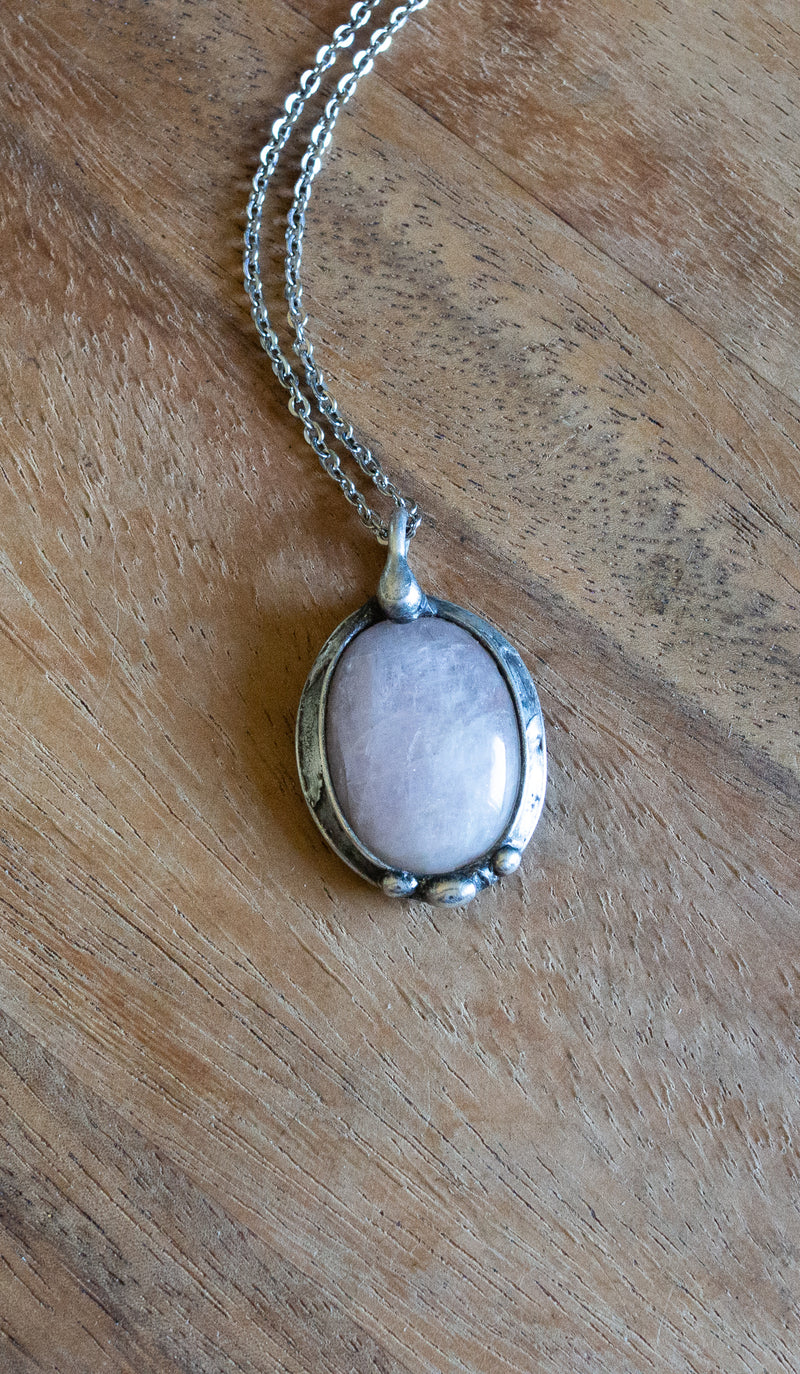 light pink rose quartz gemstone talisman necklace