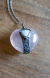 soft pink and blue gemstone talisman necklace