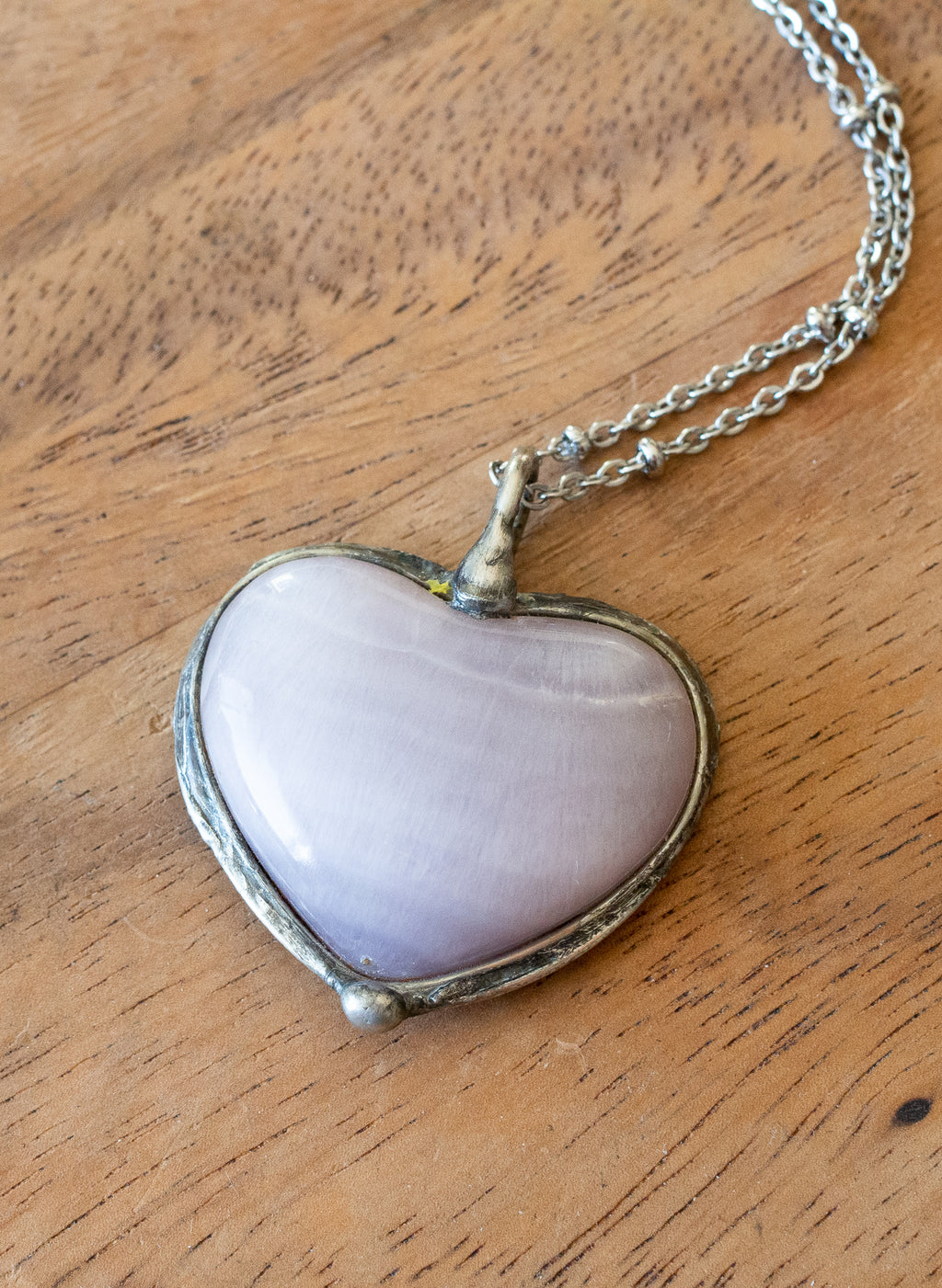 light purple raw crystal heart gemstone talisman necklace