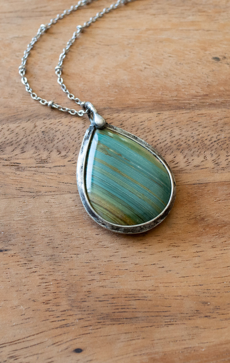 banded gary green jasper talisman crystal necklace