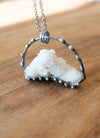 white sparkly spirit quartz raw gemstone crystal talisman necklace