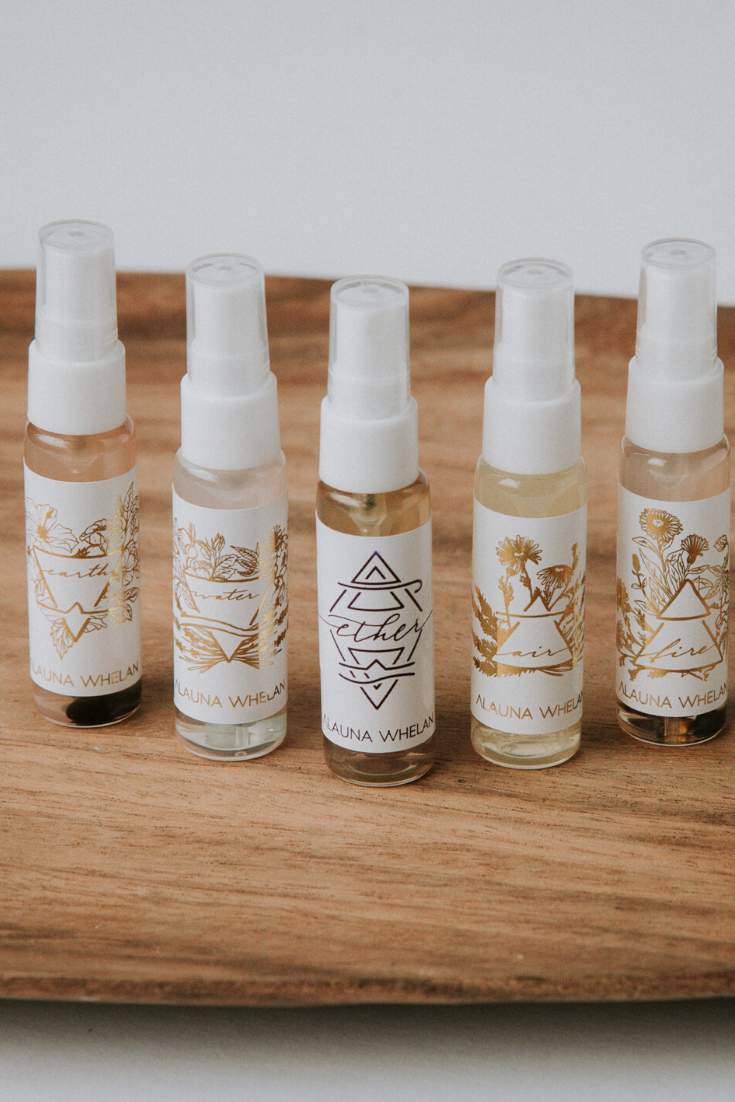 set of five element ritual mists, purse size