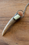 light yellow crystal and antler gemstone talisman necklace