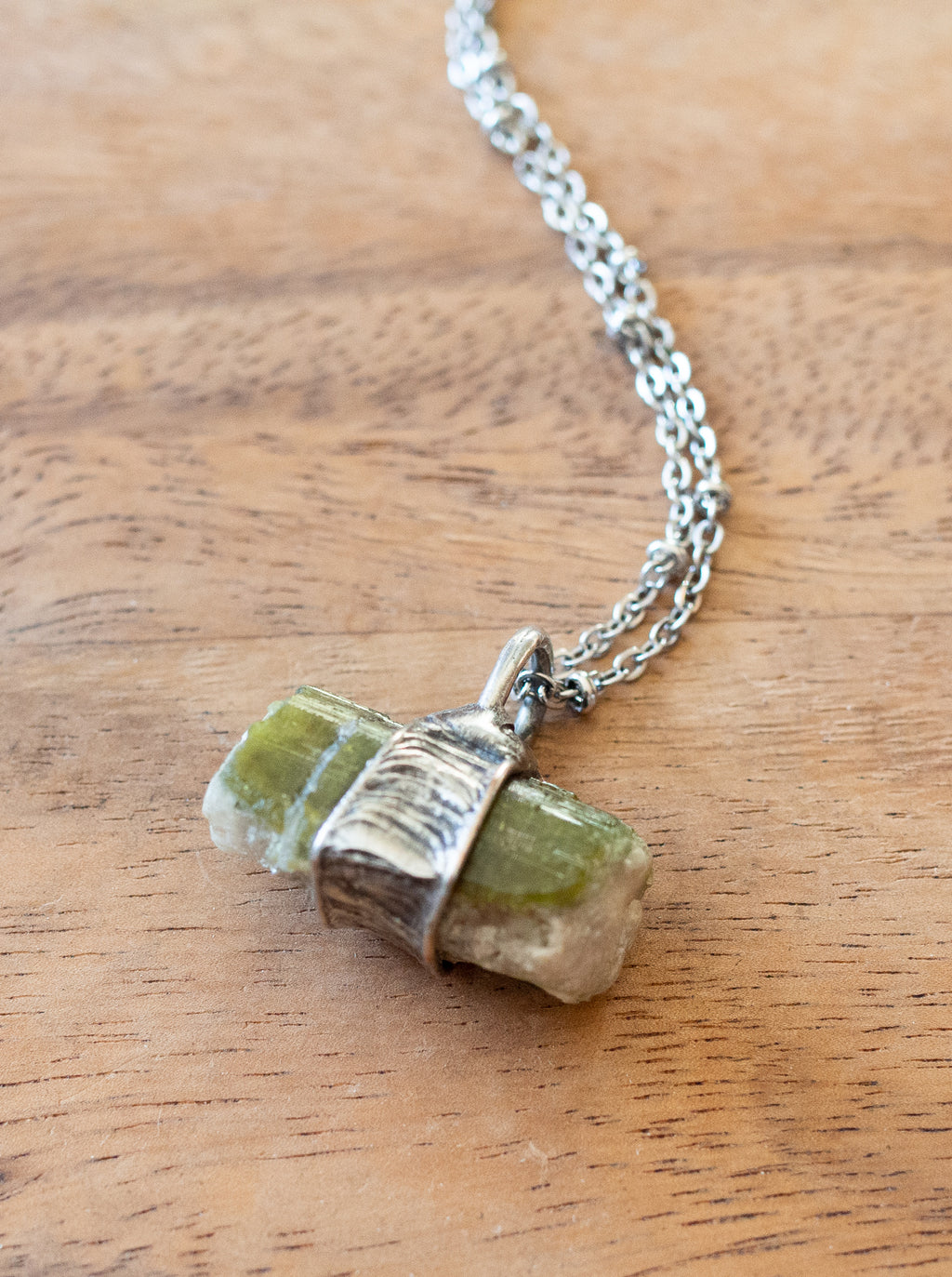 raw green watermelon tourmaline talisman crystal necklace