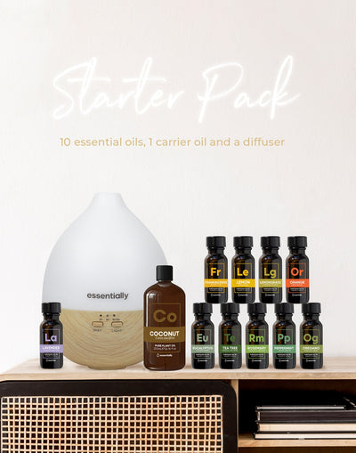 Essentially Starter Bundle - 10 Essential Oils, 1 Carrier Oil + Diffuser! - Essentially Co Australia