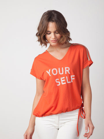 "Camiseta naranja ""Your Self"" Zenia Moda"