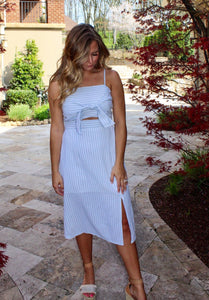 Sally In Blue - Striped Front Tie Dress