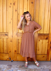 Swiss Dot-Rust Midi Dress