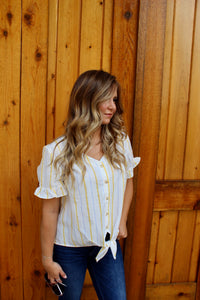 Cotton Candy - Front Tie Striped Top