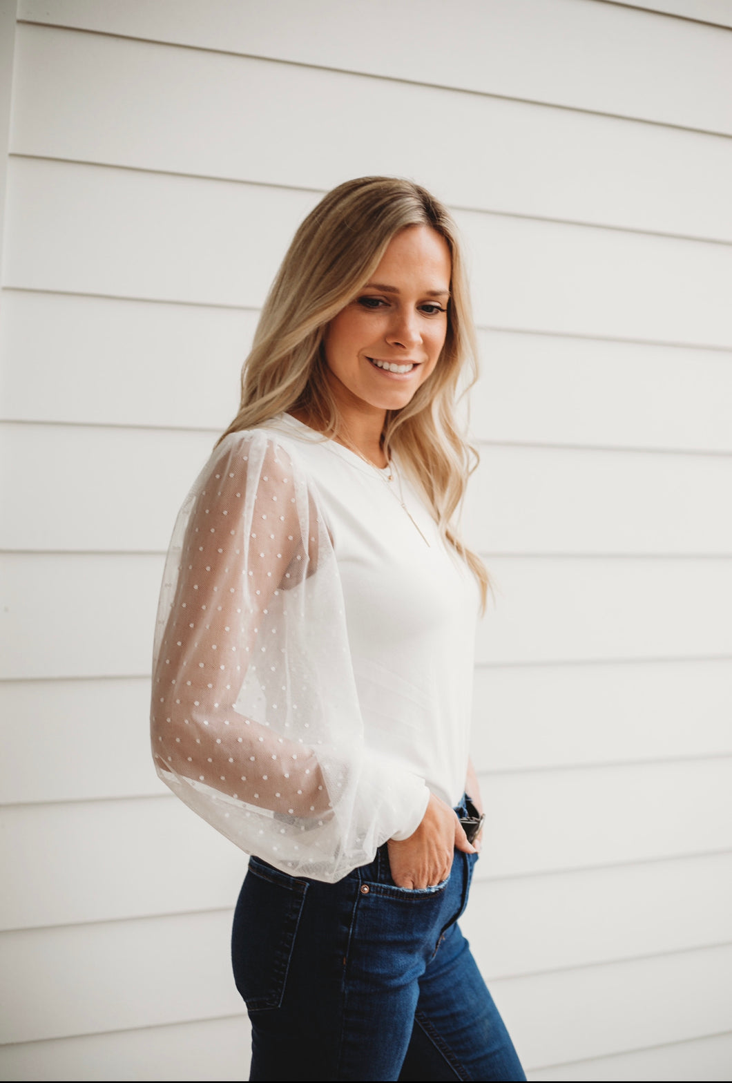 Pretty in White- Sheer Sleeve Top