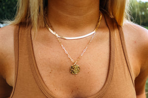 Blakely Coin Pendant Necklace- Gold