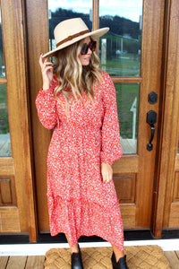 Little Red Wildflower Midi Dress