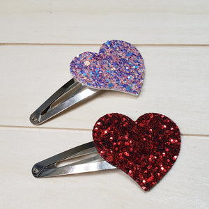 Large  heart snap clips  set of 2
