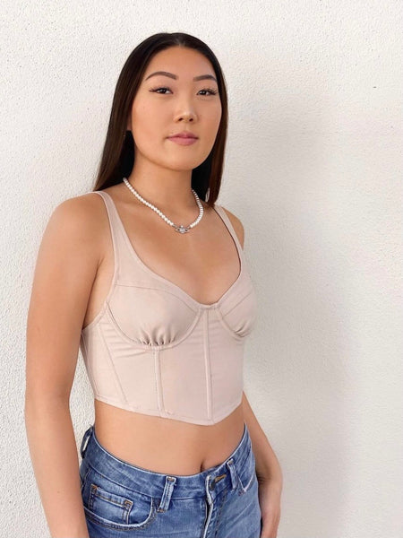 Kylie Corset Top (Taupe)