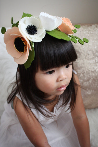 Felt Flower Crown / Flower Girl Crown / Peach Flower Crown / Blush Floral Crown / Blush Wedding / Bridal Party / Bridal Shower