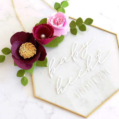 Glass Hexagon Nursery Sign - Pink + Maroon