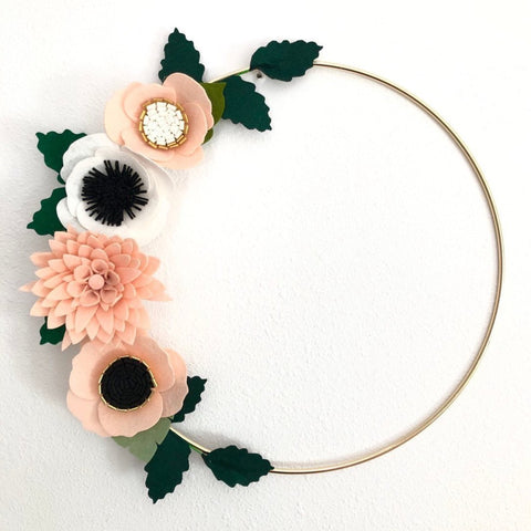 Felt Flower Wreath / Gold Wreath / Gold Hoop Wreath