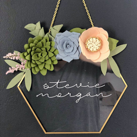 Succulent Glass Hexagon Nursery Sign
