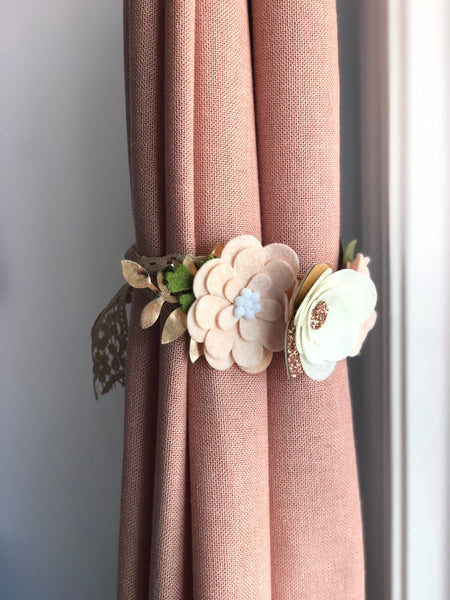 Curtain Tie Backs (SET OF 2) | Nursery Curtains | Nursery Decor | Felt Flowers | Girl Nursery | Baby Girl Gift | Floral Nursery Decor