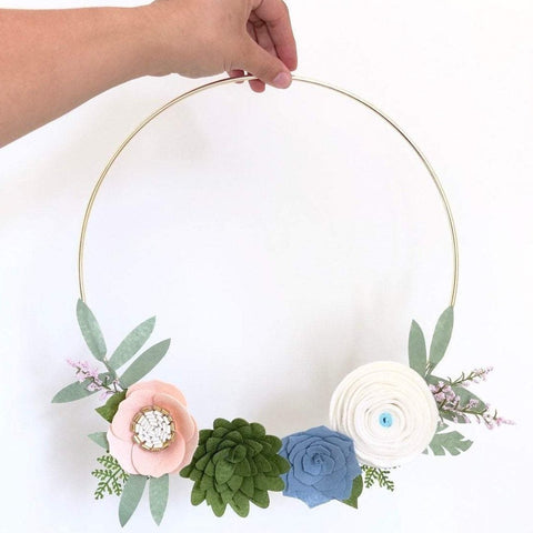 Succulent wreath / Felt Flower Wreath / Gold Wreath / Gold Hoop Wreath / succulent gift  / succulents / succulent lover / spring wreath