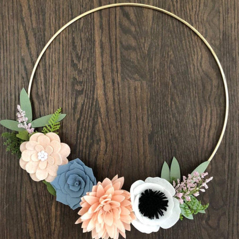 Felt Flower Wreath / Gold Wreath / Gold Hoop Wreath / succulent wreath / succulent gift  / succulents / succulent lover / spring wreath